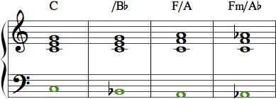 Eksempler hvor bastonen ikke er grundtone.