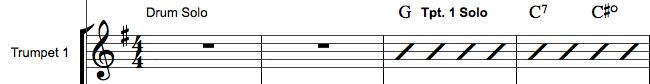 Improviseret solo i orkesterpartitur