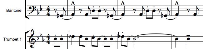 Transponerende instrumenter i orkesterpartitur