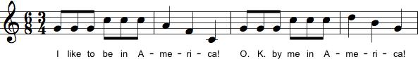 Regelmæssige skift mellem 6/8- og 3/4-takt.
