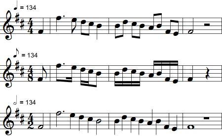 Ens notation men med forskellige nodeværdier