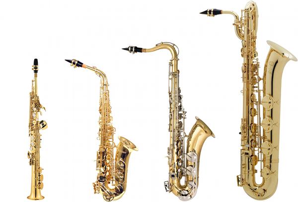 Fra venstre: Sopran-, alt-, tenor og barytonsaxofon
