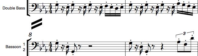 Separationstegn i orkesterpartitur