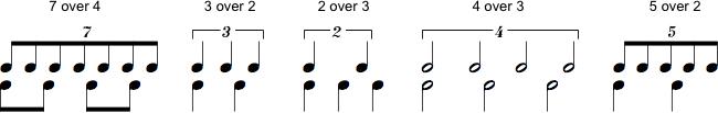 Eksempler på polyrytmer. 7 over 4, 3 over 2, 2 over 3, 4 over 3 og 5 over 2.