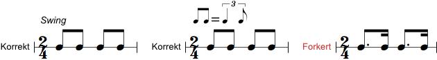 Korrekt og forkert notation af swing