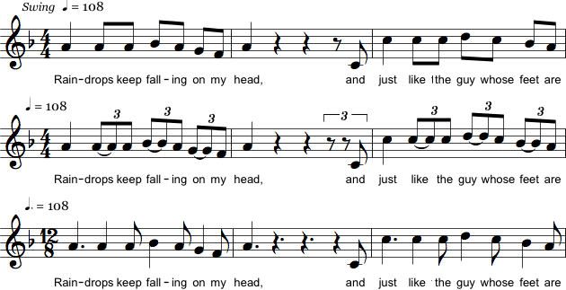Forskellige notationer af swing