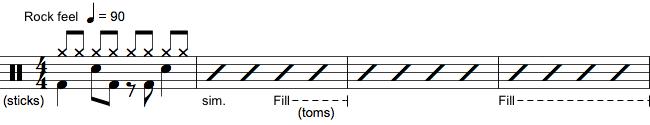 Notation af tromme fils