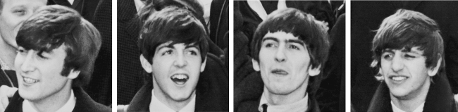 The Beatles, 1964. Fra venstre: John Lennon, Paul McCartney, George Harrison og Ringo Starr.