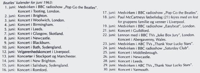 The Beatles' koncertkalender for juni 1963.