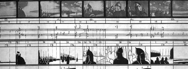 Sergej Eisenstein og Sergej Prokofievs arbejdskitse til filmen Alexander Nevsky (1938).