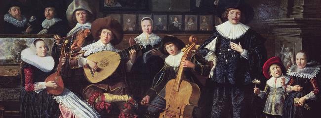 Cister, violin, lut og kontrabas. Familieportræt forestillende Molenaer-familien, ca. 1635.