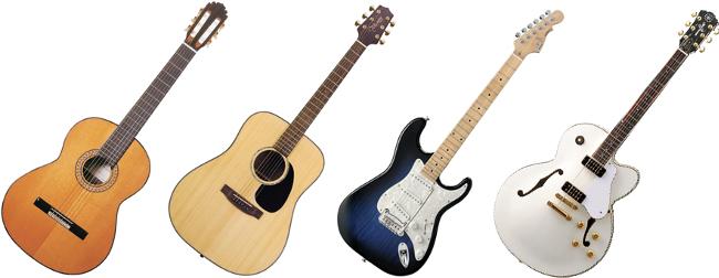 Spansk guitar. Western guitar. Elektrisk guitar. Hollowbody guitar.