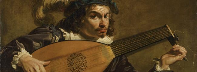 En lutspiller. Maleri af Theodoor Rombouts, ca. 1620.