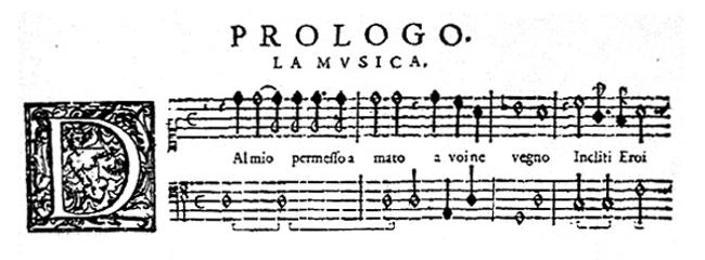 Monteverdis L'Orfeo bliver trykt og udgivet i 1609. Bemærk lighederne med nutidens nodeskrift.