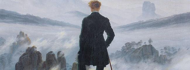 Vandreren over tågehavet. Maleri af Caspar David Friedrich, 1818.
