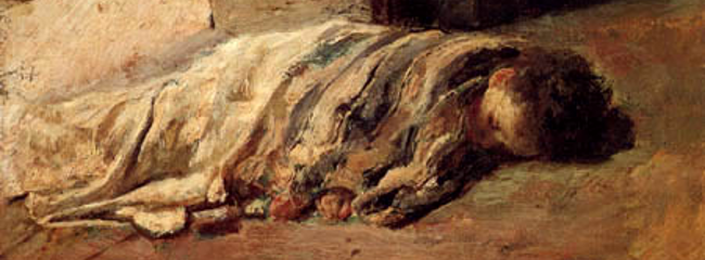 Sleeping Boy. Maleri af Antonio Mancini, 1877.