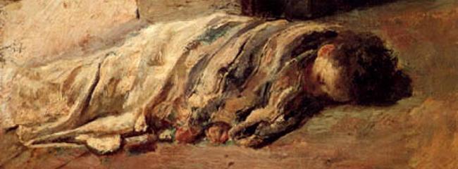 Sleeping Boy. Maleri af Antonio Mancini, 1877.