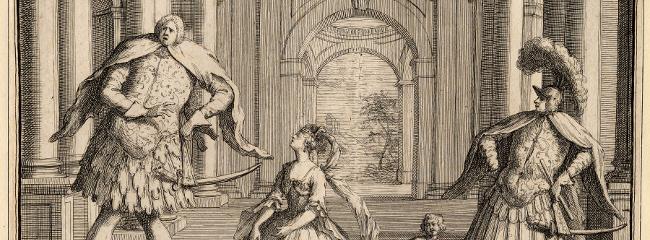 Gravering af en scene fra Händels opera Flavio (1723). Kastraterne Senesino (til venstre) og Berenstadt (til højre) har en kraftfuld fremtoning på scenen.